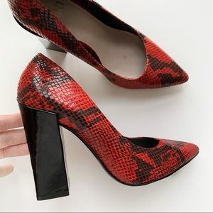 Faith Red Snake Pointed Block Heel pumps size 39